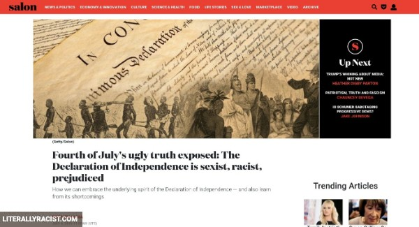 Damn White People And Their Racist Declaration of Independence