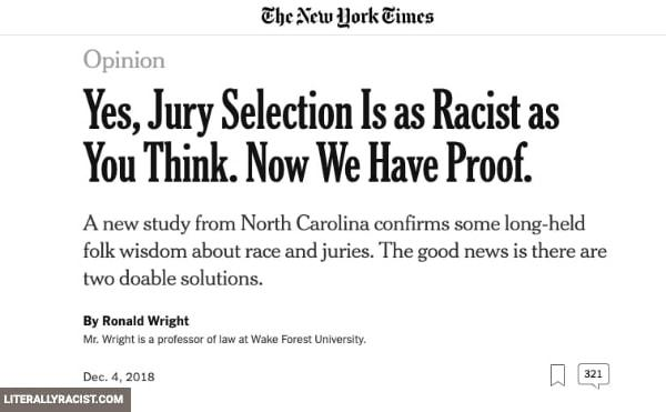 Damn White People And Their Racist Jury Selection Process