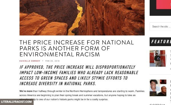 Damn White People And Their Racist National Park Entry Prices