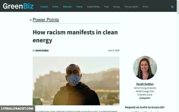 Damn White People And Their Racist Clean Energy