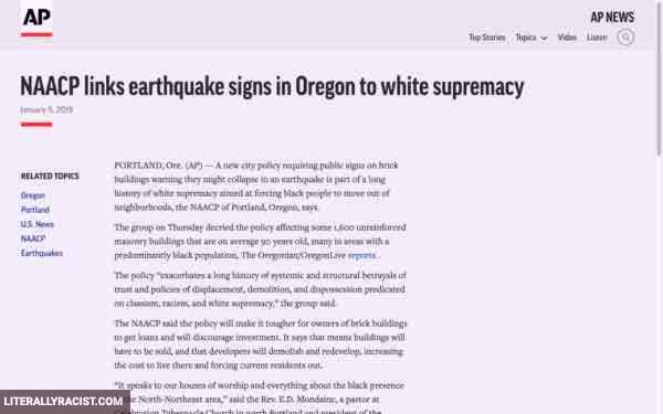 Damn White People And Their Racist Earthquake Warning Signs
