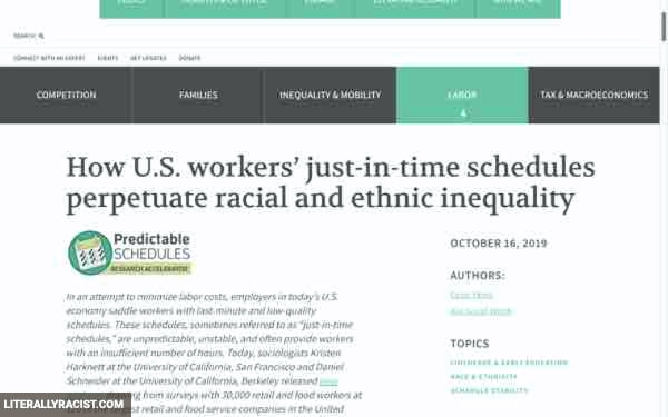 Racist Just In Time Schedules