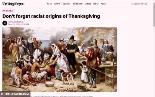 Damn White People And Their Racist Origins Of Thanksgiving