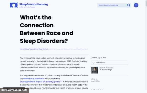 Damn White People And Their Racist Sleep Disorders