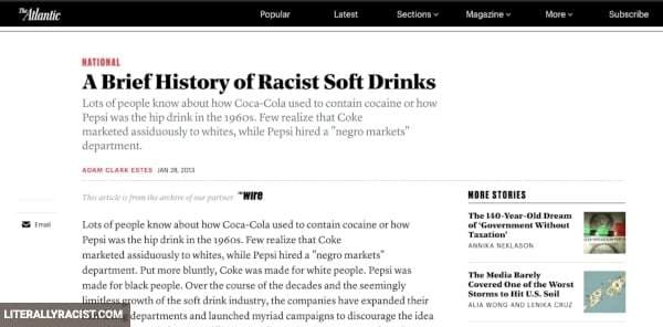 Damn White People And Their Racist Soft Drinks
