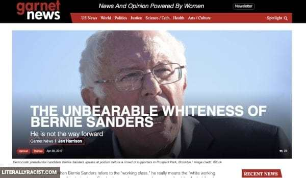 Damn White People And Their Racist Support of Bernie Sanders