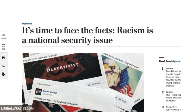 Damn White People And Their Racist Way of Not Making Racism A National Security Issue