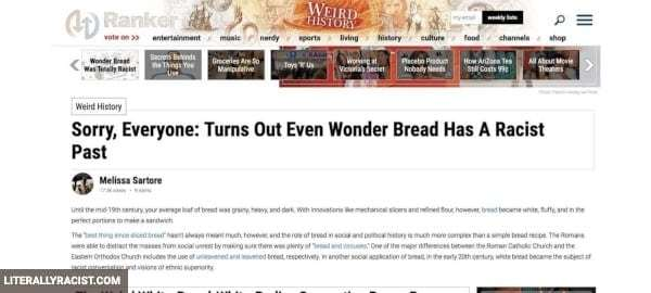 Damn White People And Their Racist Wonder Bread