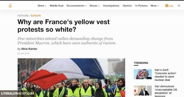 Damn White People And Their Racist Yellow Vest Protests